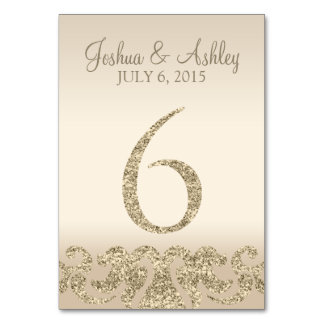 Glitter Look Wedding Table Numbers-Table Card 6 Table Cards