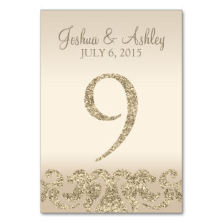 Glitter Look Wedding Table Numbers-Table Card 9 Table Card