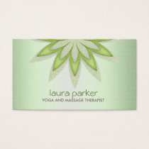 Glitter Lotus Flower Logo Yoga Healing Health Business Card