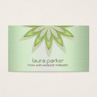 Glitter Lotus Flower Logo Yoga Healing Health Business Card