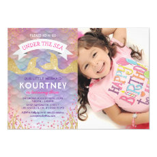 Glitter Magical Mermaid Birthday Party Photo Invitation