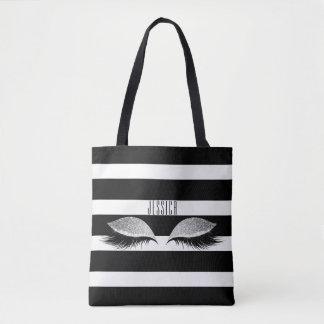 Glitter Makeup Eye Lashes Black White Stripes Name Tote Bag