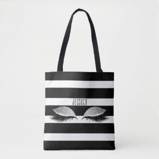 Glitter Makeup Eye Lashes Black White Stripes Name Tote Bag