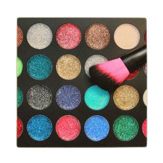 Glitter Makeup Wood Coaster