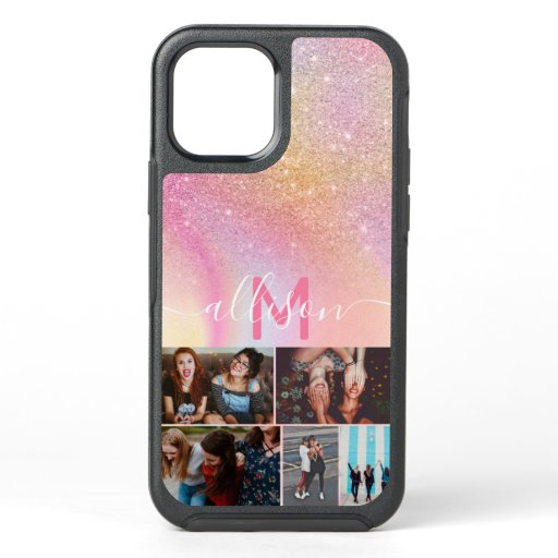 Glitter marble monogram name custom 5 photos OtterBox symmetry iPhone 12 case