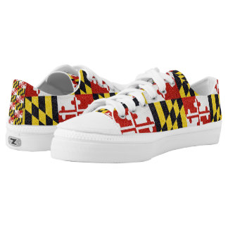 Glitter Maryland flag low top sneaker shoes