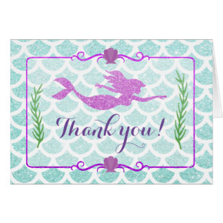 Glitter Mermaid Thank You Cards