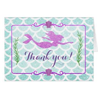 Glitter Mermaid Thank You Cards