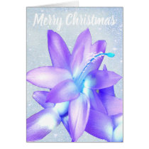 *~* Glitter Merry Christmas Flower Blue Customize Card