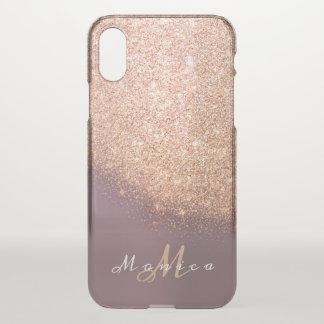 Glitter Monogram Name Lavender Gold Peach Copper iPhone X Case