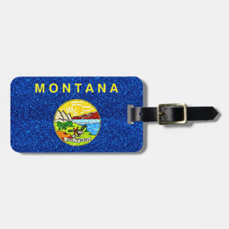 Glitter Montana flag customizable luggage tag