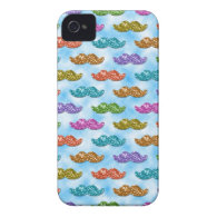 Glitter Moustache Floating in the Sky iPhone 4 Cases