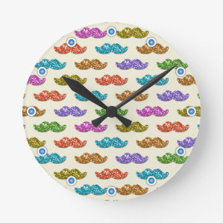 Glitter Moustache Floating Round Clock