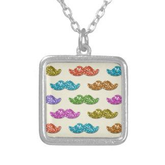 Glitter Moustache Pattern Custom Necklace