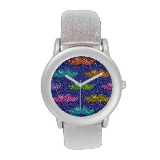 Glitter Moustache Pattern Watches