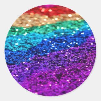 Glitter Multi Colored Sparkle Purple yellow green Classic Round Sticker