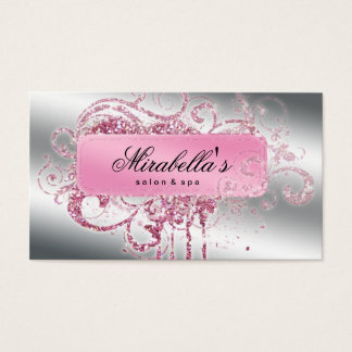 Glitter Nail Salon Appointment Elegant Bling Business Card