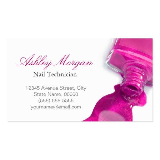 Glitter Nail Salon Manicure - Pink Beauty Stylish Business Card Template (back side)