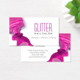 Glitter Nail Salon Manicure - Pink Beauty Stylish Business Card