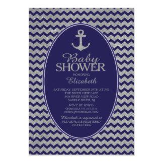 Glitter Nautical Anchor Baby Shower Invitatation Card