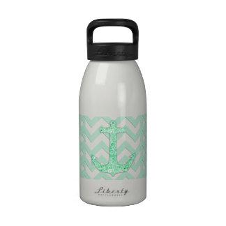 Glitter nautical anchor, turquoise chevron pattern water bottle