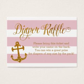 Glitter Nautical Baby Shower Diaper Raffle Card
