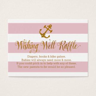 Glitter Nautical Baby Wishing Well Raffle Card