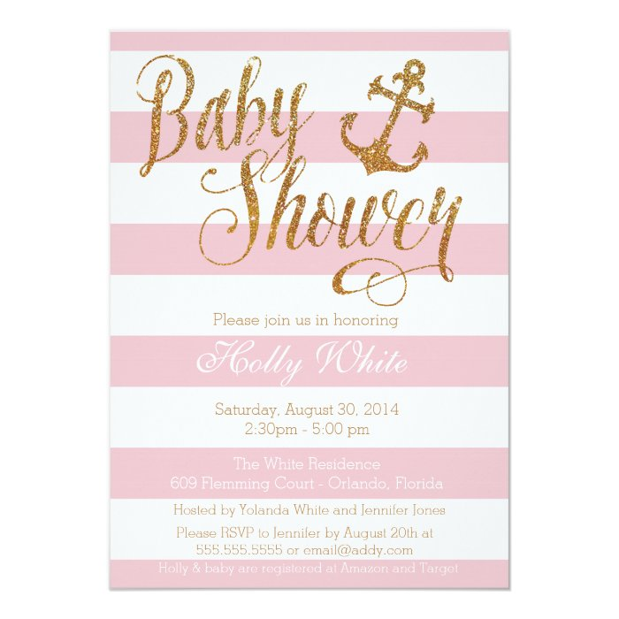 glitter nautical girl baby shower invitation zazzle