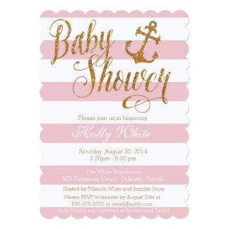 Glitter Nautical Girl Baby Shower Invitation II