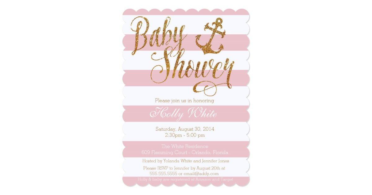 glitter nautical girl baby shower invitation ii zazzle