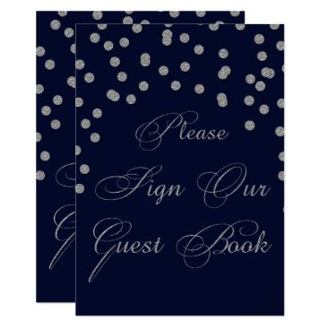 Glitter navy silver please sign guest book card
