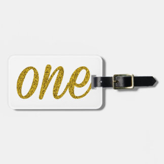 Glitter Number ONE (1) Bag Tag