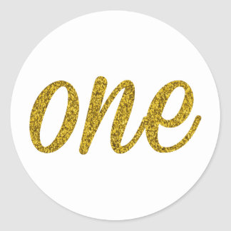 Glitter Number ONE (1) Classic Round Sticker