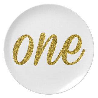 Glitter Number ONE (1) Melamine Plate