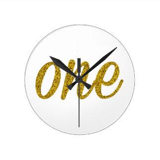 Glitter Number ONE (1) Round Clock
