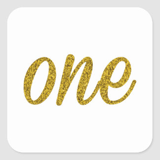 Glitter Number ONE (1) Square Sticker