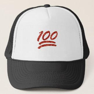glitter one hundred emoji trucker hat