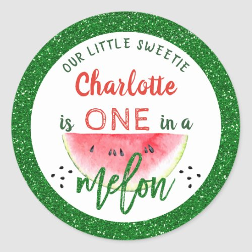 Glitter One in a Melon 1st Birthday Watermelon Classic Round Sticker