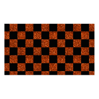 Glitter orange and black checkered pattern business card