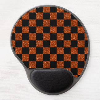 Glitter orange and black checkered pattern gel mouse pad