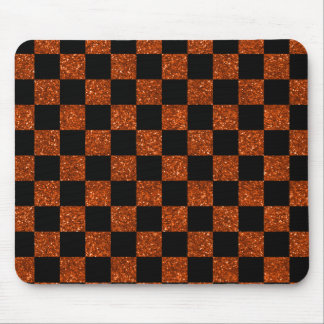 Glitter orange and black checkered pattern mouse pad