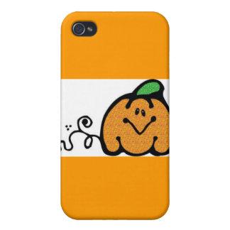 GLITTER ORANGE PUMPKIN CUTE SMILING FUNNY HAPPY CA CASE FOR iPhone 4