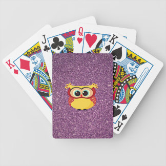 Glitter Owl Bicycle Playing Cards