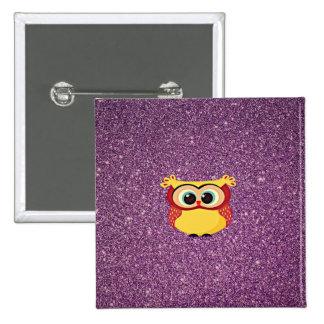 Glitter Owl Button