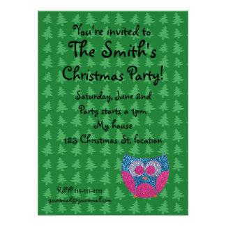 Glitter owl christmas invitation