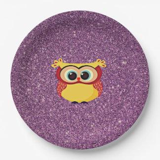 Glitter Owl Paper Plate