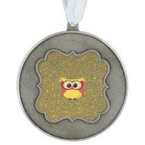 Glitter Owl Pewter Ornament