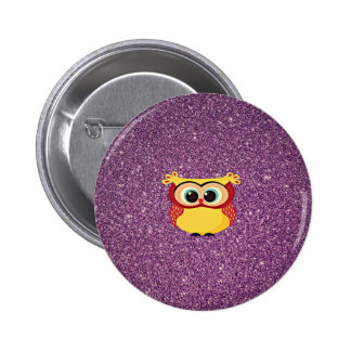 Glitter Owl Pinback Button