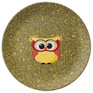 Glitter Owl Porcelain Plate