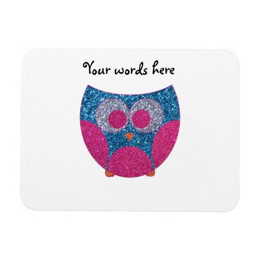 Glitter owl rectangular photo magnet